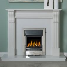 "Dublin Corbel 48"" Lunar White Marble Fireplace Suite"