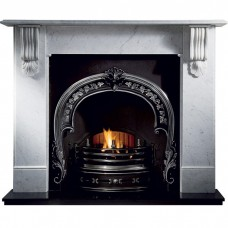 Gallery Kingston 63'' Marble Fireplace With Fitzwilliam Cast Iron Arch
