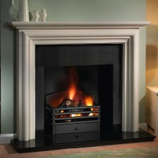 Gallery Modena Limestone Fireplace Includes Optional Matrix Fire Basket