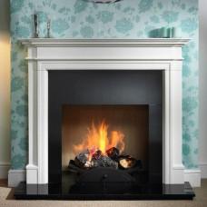 Gallery Bartello Limestone Fireplace Includes Swans Nest Fire Basket