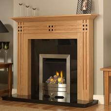 GB Mantels Chessington Clear Oak & Black Fireplace Suite