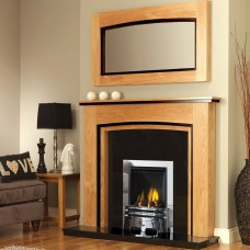 GB Mantels Upton Clear Oak/Black Oak Fireplace Suite