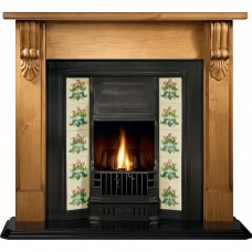 Gallery Grand Corbel Pine Fireplace Includes Princes Cast Iron Tiled Insert