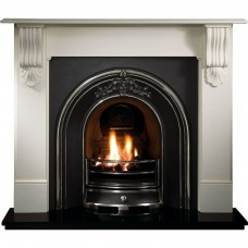 Gallery Kingston 56'' Limestone Fireplace With Landsdowne Cast Iron Arch