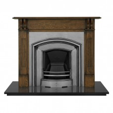 "Carron Earlswood 55"" Oak Wood Fireplace With London Plate Cast Iron Arch"