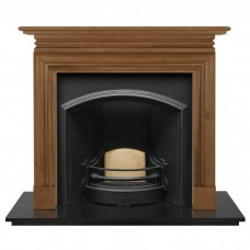 """Carron Wessex 54"""" Pine Wood Fireplace With London Plate Insert (Wide Opening)"""