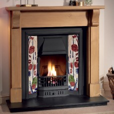 Gallery Bedford Wood Fireplace Includes Prince Cast Iron Tiled Insert