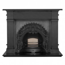 "Carron Somerset 59"" Cast Iron FIreplace With Rococo Cast Iron Arch"