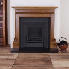 """Carron Voloute 52"""" Oak Wood Fireplace With Royal Cast Iron Inset"""