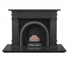 "Carron Somerset 59"" Cast Iron Fireplace With Westminster Arch Black"