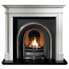 Gallery Bartello Limestone Fireplace with Jubilee Cast Iron Arch