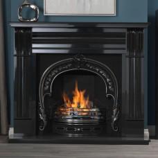 "Gallery Dublin Corbel 60"" Black Granite Fireplace with Fitzwilliam Cast Iron Arch"