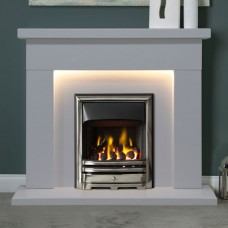 """Gallery Durrington 48"""" Arctic White Marble Fireplace"""