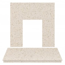 Fireplaces 4 Life honey creme Marble Back Panel & Hearth