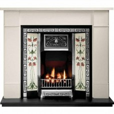 Gallery Brompton Limestone Fireplace Includes Northmoor Cast iron Tiled Insert