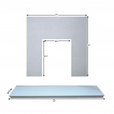 Fireplaces 4 Life Marfil Stone Back Panel & Hearth